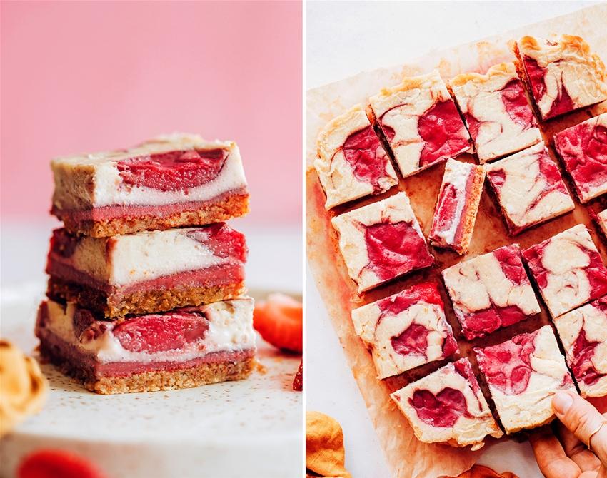 vegan strawberry cheesecake bars
