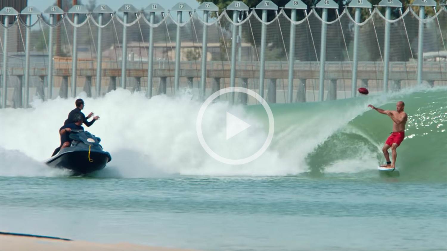Watch: NFL and surfing bathe together