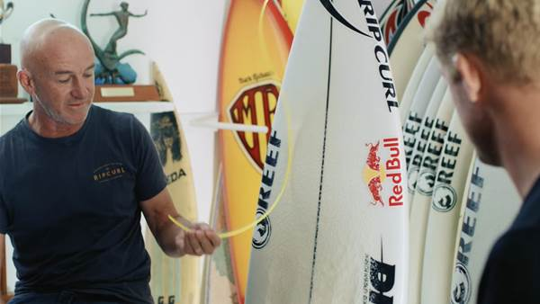 Watch: Mick Fanning and DHD on Mick's J-Bay Shark Board