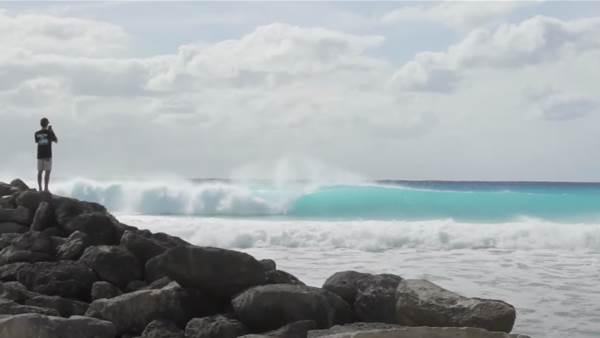 Watch: CJ Hobgood and Levi Slawson Session an iridescent Bahamian Left