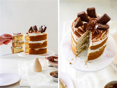 tiramisu and tim tam layer cake