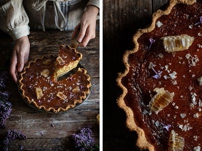 salty honey pie with roasted rhubarb