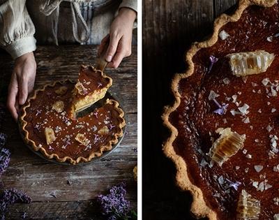 salty honey pie with roasted rhubarb