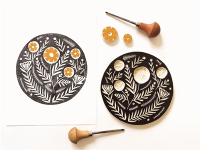 try your hand at home linocutting