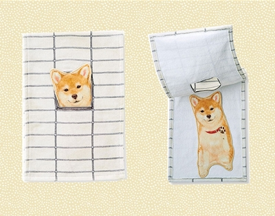 shiba inu hand towels