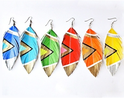 rad coloured feather earrings