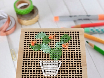 simple cactus embroidery box