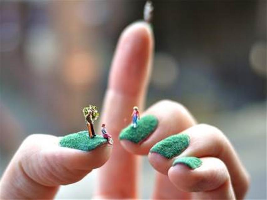 tiny landscape nail art