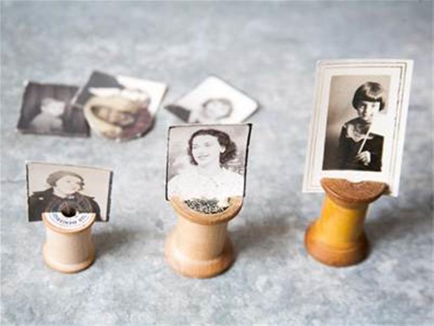 vintage spool photo holders DIY