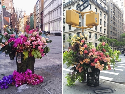 flowers in new york city bins