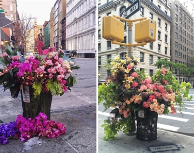 flowers in new york city bins