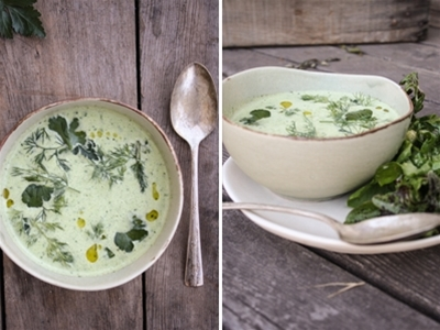 chilled cucumber and herb soup