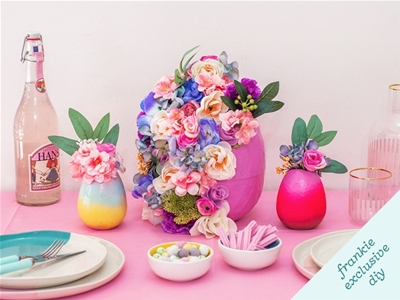 frankie exclusive diy: floral easter egg table decoration