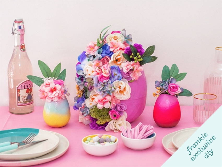 frankie exclusive diy: floral easter egg table decoration