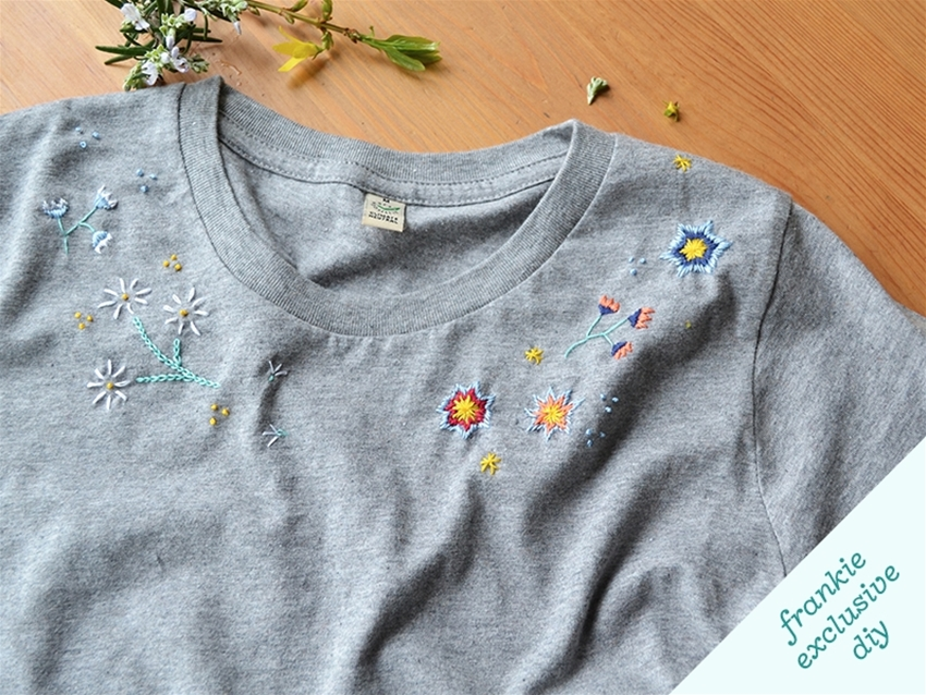 frankie exclusive diy: floral embroidered t-shirt