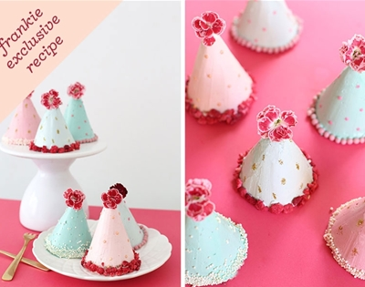 frankie exclusive recipe: party hat cakes