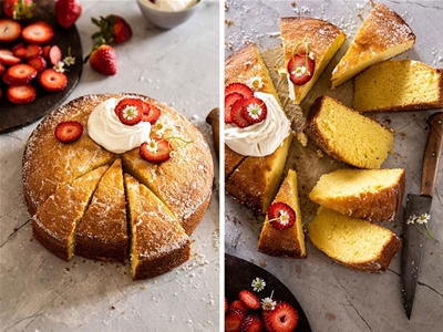 strawberry chamomile and olive oil cake