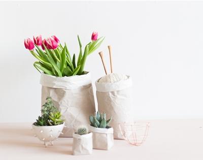 diy paper sack planters