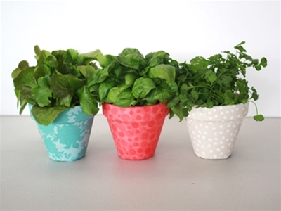 frankie exclusive diy: fabric-covered flower pots