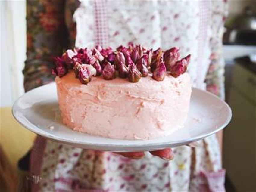 a very rosy birthday cake