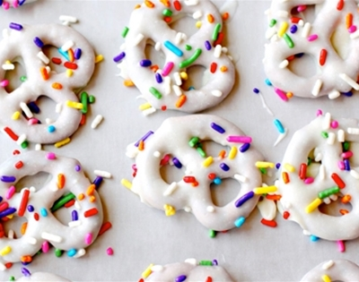 sprinkly chocolate-covered pretzels