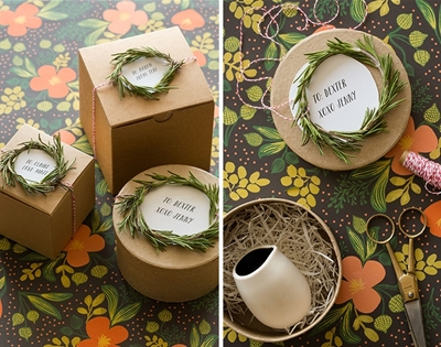 diy rosemary wreath gift toppers