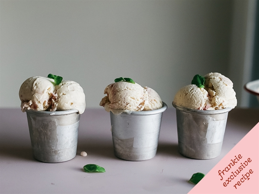 frankie fodder: strawberry and basil no-churn ice-cream