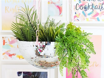 diy disco ball hanging planter