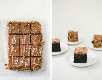 chocolate sheet cake with walnuts