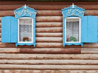 russian hand-carved window frames