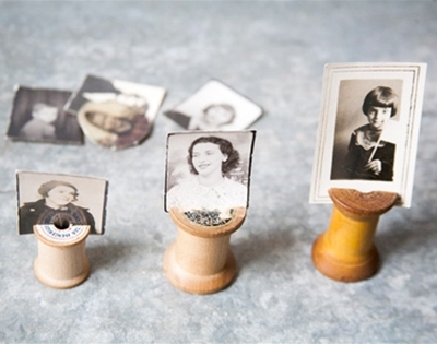vintage spool photo holders DIY