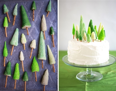 diy marzipan tree cake toppers