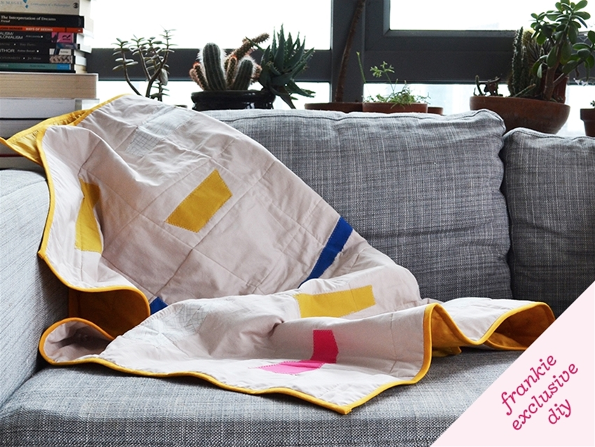 frankie exclusive diy: quilted shapes lap blanket