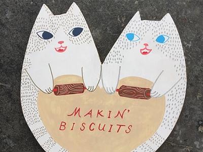 wooden art: kitties in the kitchen
