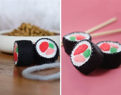 diy felt sushi cat toy