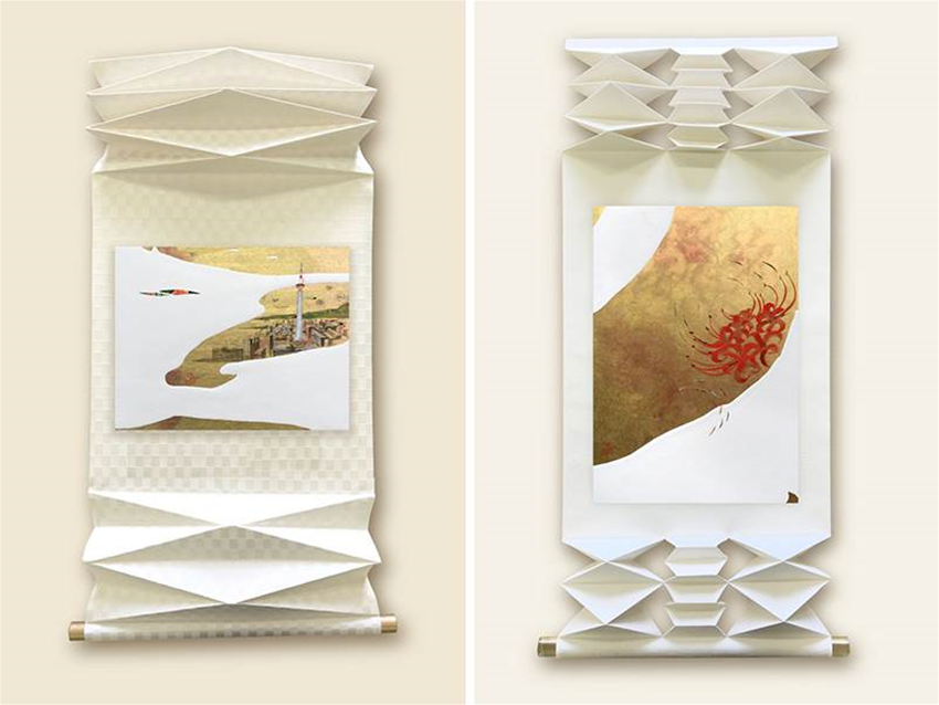 miniature collages on accordion-folding scrolls