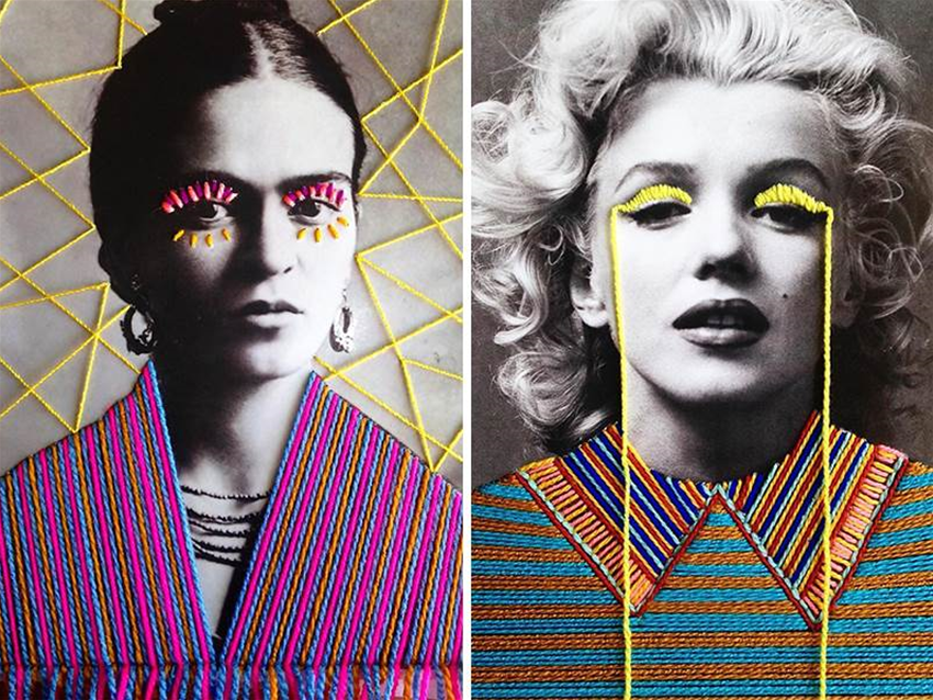 embroidered photos of pop culture icons