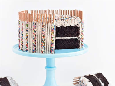 cookies and cream confetti pocky cake