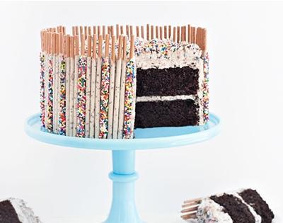 cookies and cream confetti pocky cake