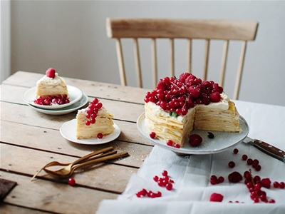crêpe cake with red berries