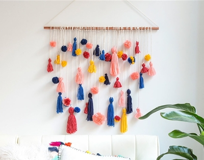 diy pom pom tassel wall hanging