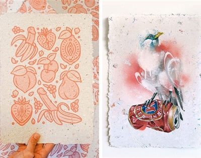 these artist papers are made from scraps