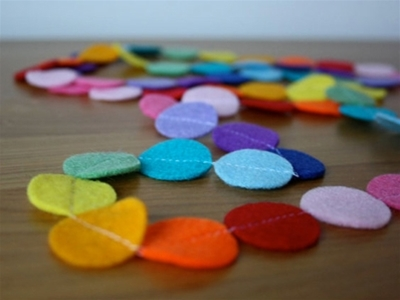coloured felt garlands