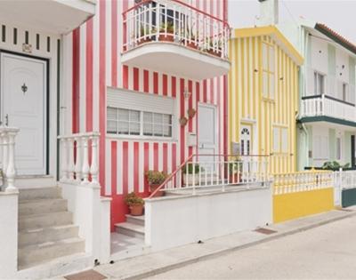 a stripy seaside village