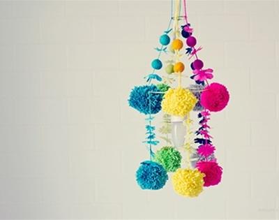 frankie diy - pom pom chandeliers