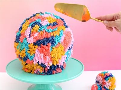diy giant pom pom cake
