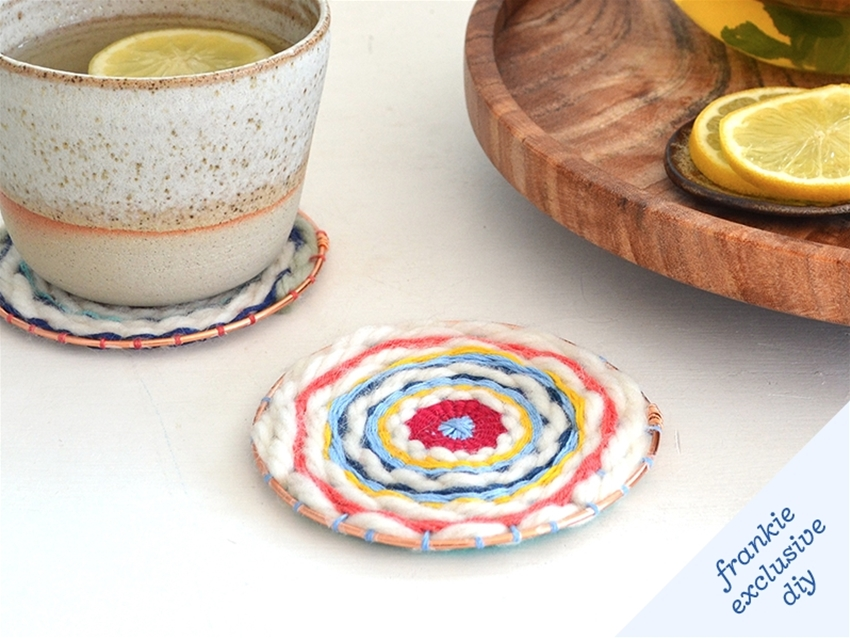 frankie exclusive diy: circle-woven coasters