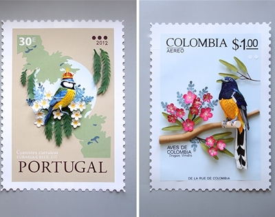 diana beltran herrera's three-dimensional bird stamps