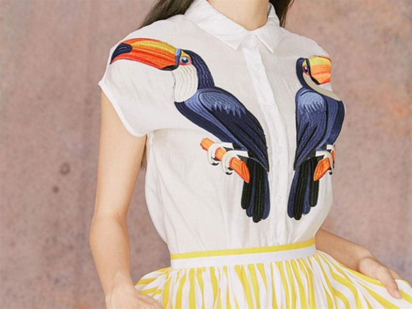toucan-embroidered threads