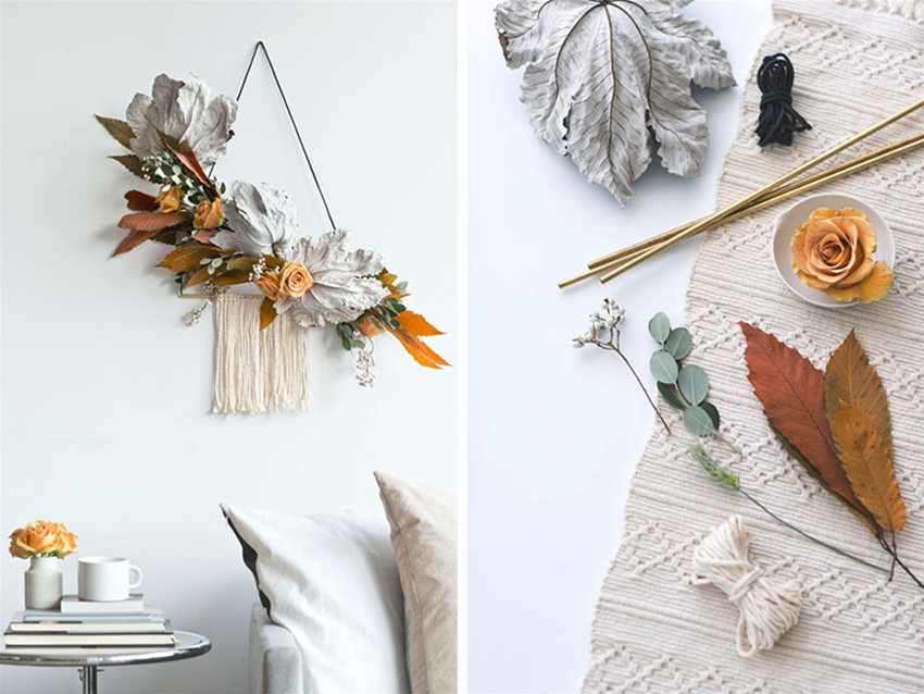 diy leafy autumn wreath